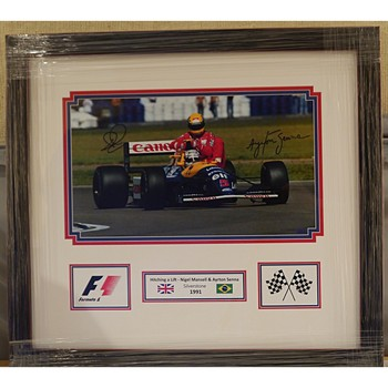 Senna & Mansell Signed 'Taxi Ride For Senna' Photo