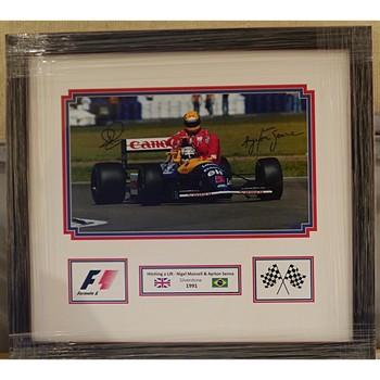Senna & Mansell Signed 'Taxi Ride For Senna' Photo