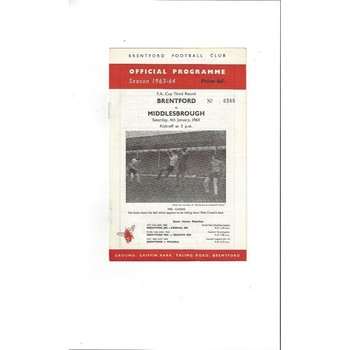 1963/64 Brentford v Middlesbrough FA Cup Football Programme