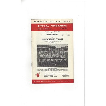 1965/66 Brentford v Shrewsbury Town Football Programme