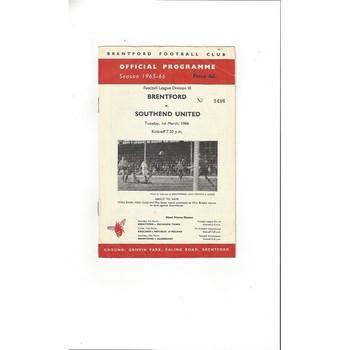 Brentford v Southend United 1965/66