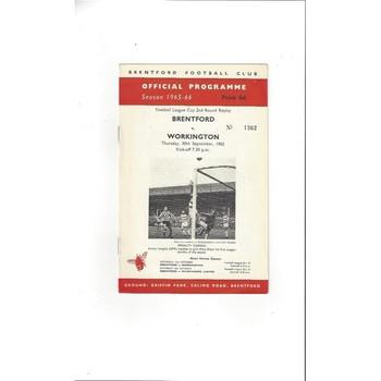 1965/66 Brentford v Workington League Cup Football Programme