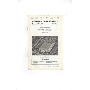 1967/68 Brentford v Aldershot Football Programme