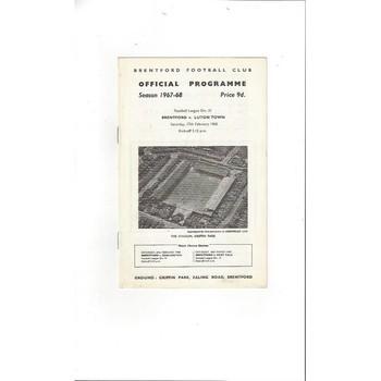 Brentford v Luton Town 1967/68