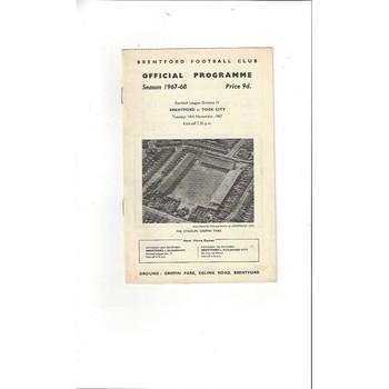 1967/68 Brentford v York City Football Programme