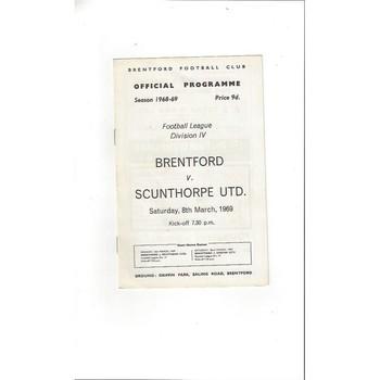 Brentford v Scunthorpe United 1968/69
