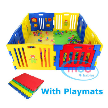 8 Sided Plastic Baby Playpen with Playmats (Blue)