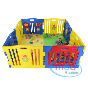 8 Sided Plastic Baby Playpen (Blue)