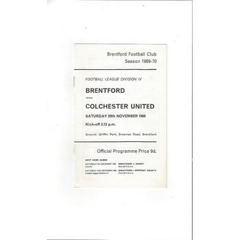 Brentford v Colchester United 1969/70
