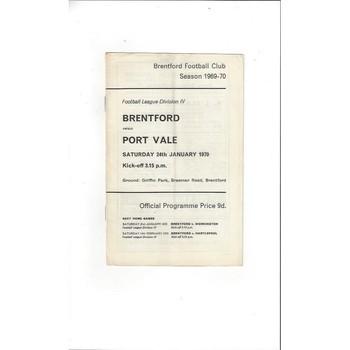 Brentford v Port Vale 1969/70