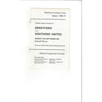 Brentford v Southend United 1969/70