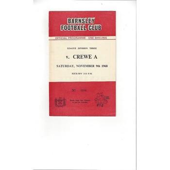 1968/69 Barnsley v Crewe Alexandra Football Programme