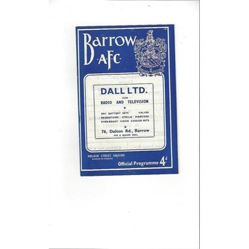 1961/62 Barrow v Accrington Stanley Football Programme Sept 18th