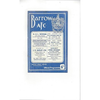 1965/66 Barrow v Luton Town Football Programme April 25th