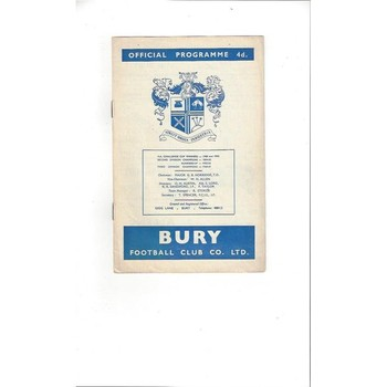 1962/63 Bury v Southampton Football Programme
