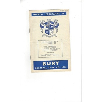 1960/61 Bury v Swindon Town Football Programme
