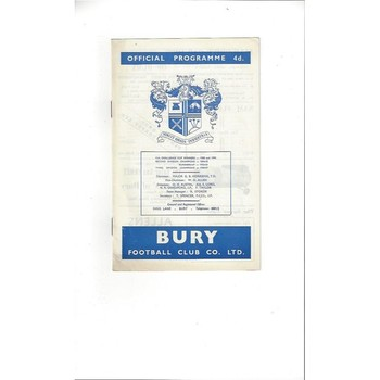 1963/64 Bury v Norwich City Football Programme