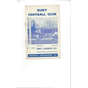 1966/67 Bury v Coventry City Football Programme