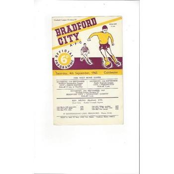 1965/66 Bradford City v Colchester United Football Programme