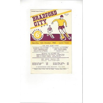 1965/66 Bradford City v Luton Town Football Programme