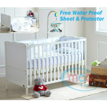 "Wooden Baby Cot Bed With 3"" Water repellent Mattress 140x70cm"
