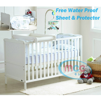 Wooden Baby Cot bed Florida & Top Changer & Water repellent Mattress 140x70cm