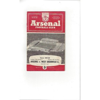 1959/60 Arsenal v West Bromwich Albion Football Programme