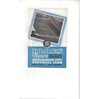 1959/60 Birmingham City v Bolton Wanderers Football Programme