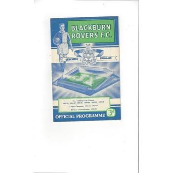 1964/65 Blackburn Rovers v Fulham Football Programme