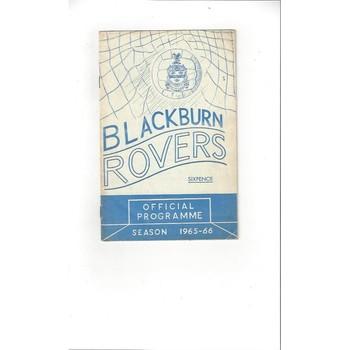 1965/66 Blackburn Rovers v Blackpool Football Programme Dec