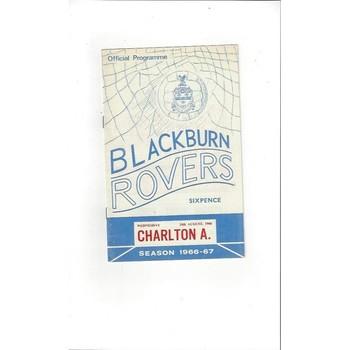 1966/67 Blackburn Rovers v Charlton Athletic Football Programme
