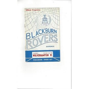 1966/67 Blackburn Rovers v Wolves Football Programme