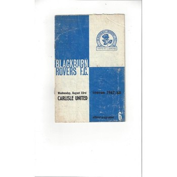 1967/68 Blackburn Rovers v Carlisle United Football Programme
