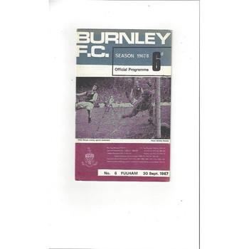 1967/68 Burnley v Fulham Football Programme