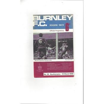 1967/68 Burnley v Southampton Football Programme