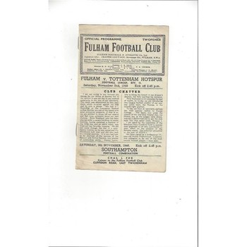 1946/47 Fulham v Tottenham Hotspur Football Programme