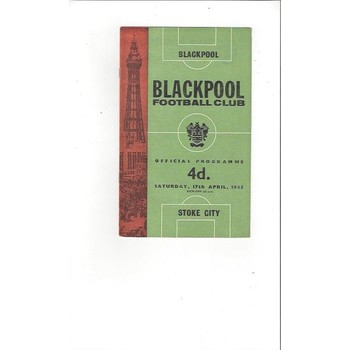 1964/65 Blackpool v Stoke City Football Programme