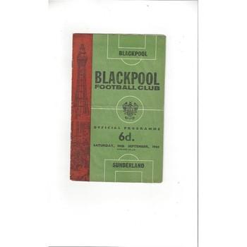 1965/66 Blackpool v Sunderland Football Programme