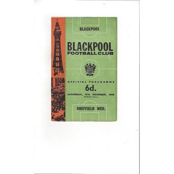 1966/67 Blackpool v Sheffield Wednesday Football Programme