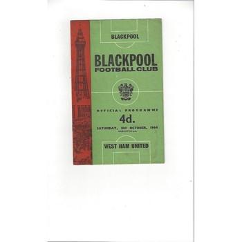 1964/65 Blackpool v West Ham United Football Programme