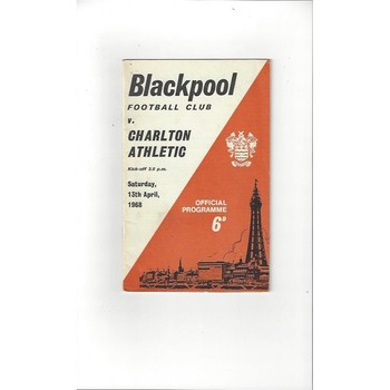 1967/68 Blackpool v Charlton Athletic Football Programme