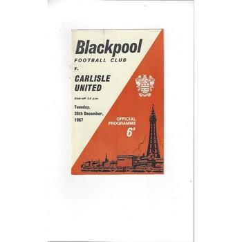 1967/68 Blackpool v Carlisle United Football Programme
