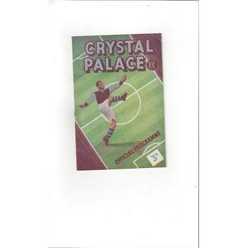 1949/50 Crystal Palace v Norwich City Football Programme