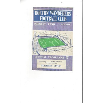 1958/59 Bolton Wanderers v Blackburn Rovers Football Programme