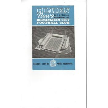 Birmingham City v Arsenal 1964/65