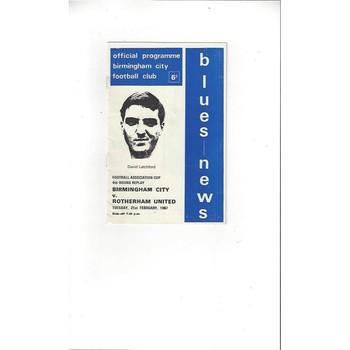 Birmingham City v Rotherham United FA Cup Replay 1966/67