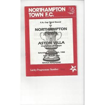 1982/83 Northampton Town v Aston Villa FA Cup Football Programme