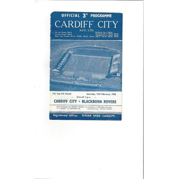 1957/58 Cardiff City v Blackburn Rovers FA Cup Football Programme