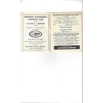 1967/68 Crystal Palace v Carlisle United Football Programme