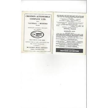 1967/68 Crystal Palace v Norwich City Football Programme